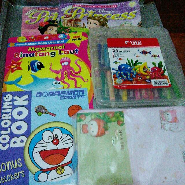 Paket Majalah Princess Pensil Warna Crayon Titi Buku Mewarnai