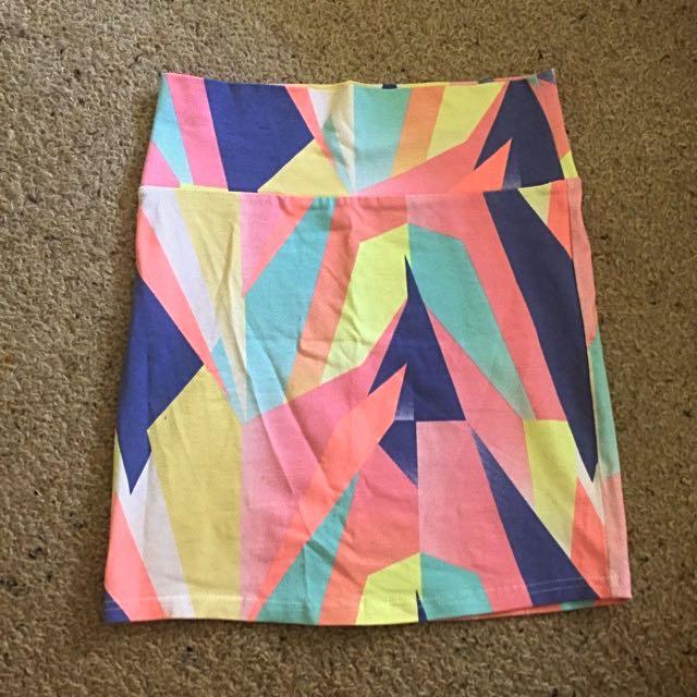 Pastel Shapes Tight Skirt