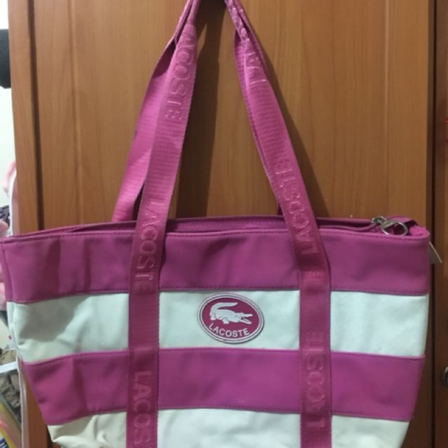 Pink and White Lacoste Bag