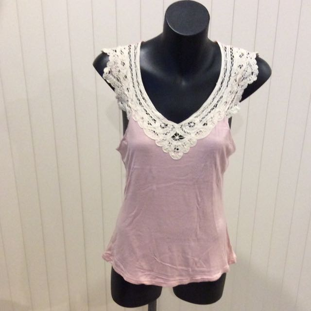 Pink tee with lace detail