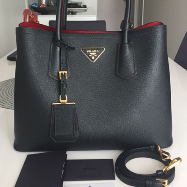 Prada Cuir Double Medium Bag Black Nero, Red & Gold Hardware 1BG775