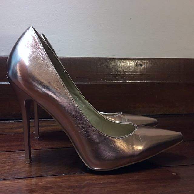 Public Desire Metallic Rose Gold Pumps