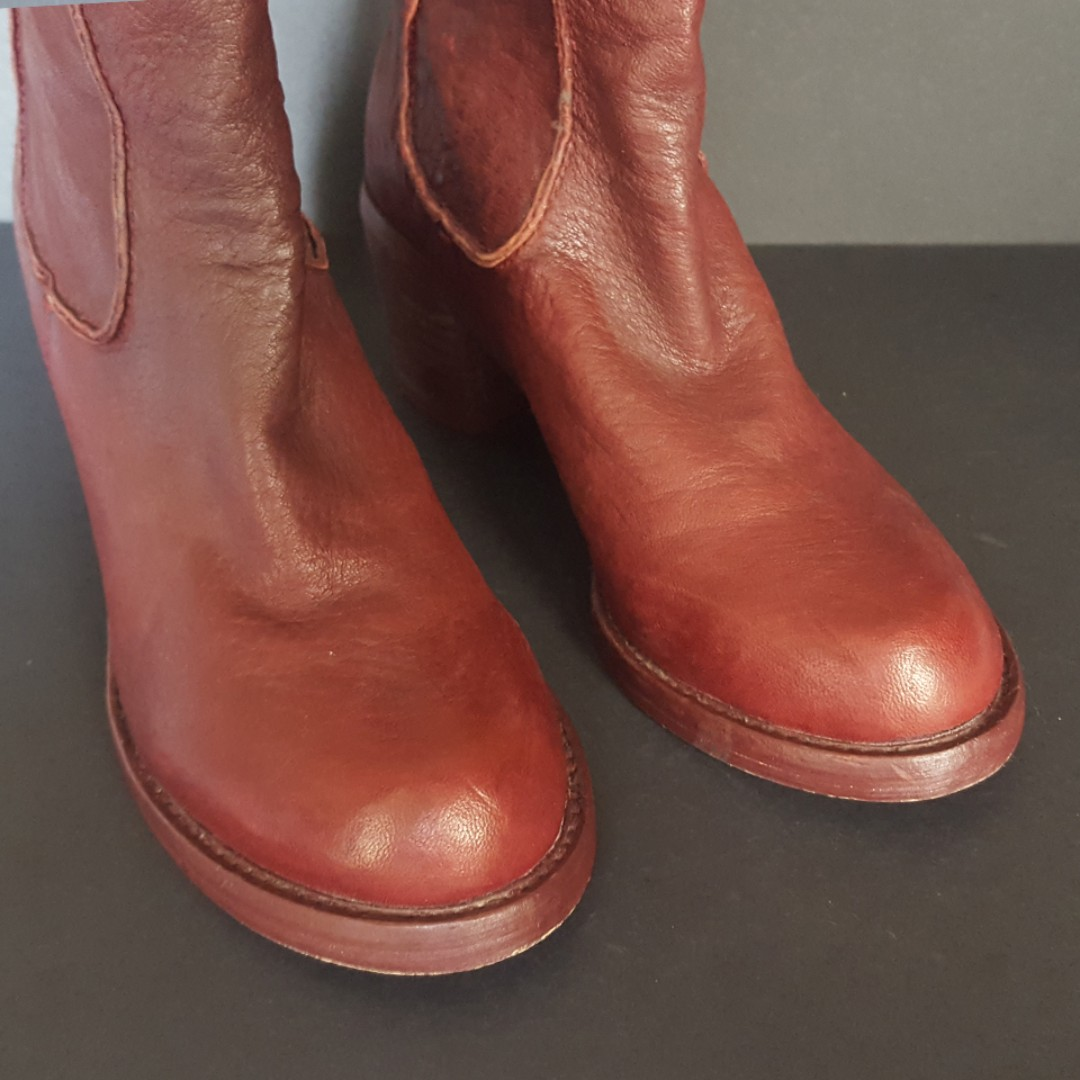 Real Leather Red Boots