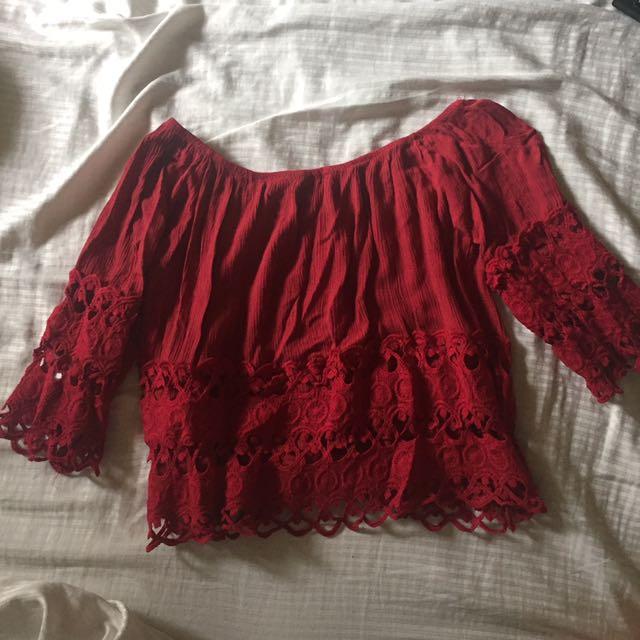 Red Off-shoulder Embroidered Top