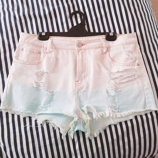 Ripped ombre shorts