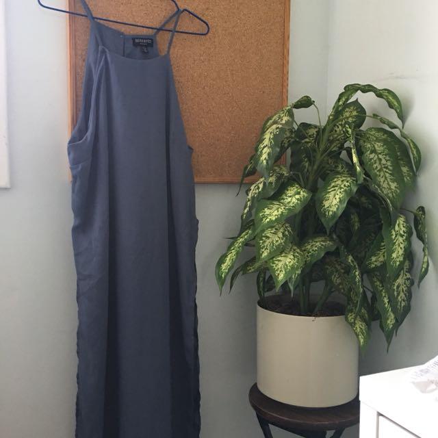 Side slit halter slip dress