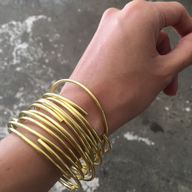 Simple Thin Brass Bangle in Gold