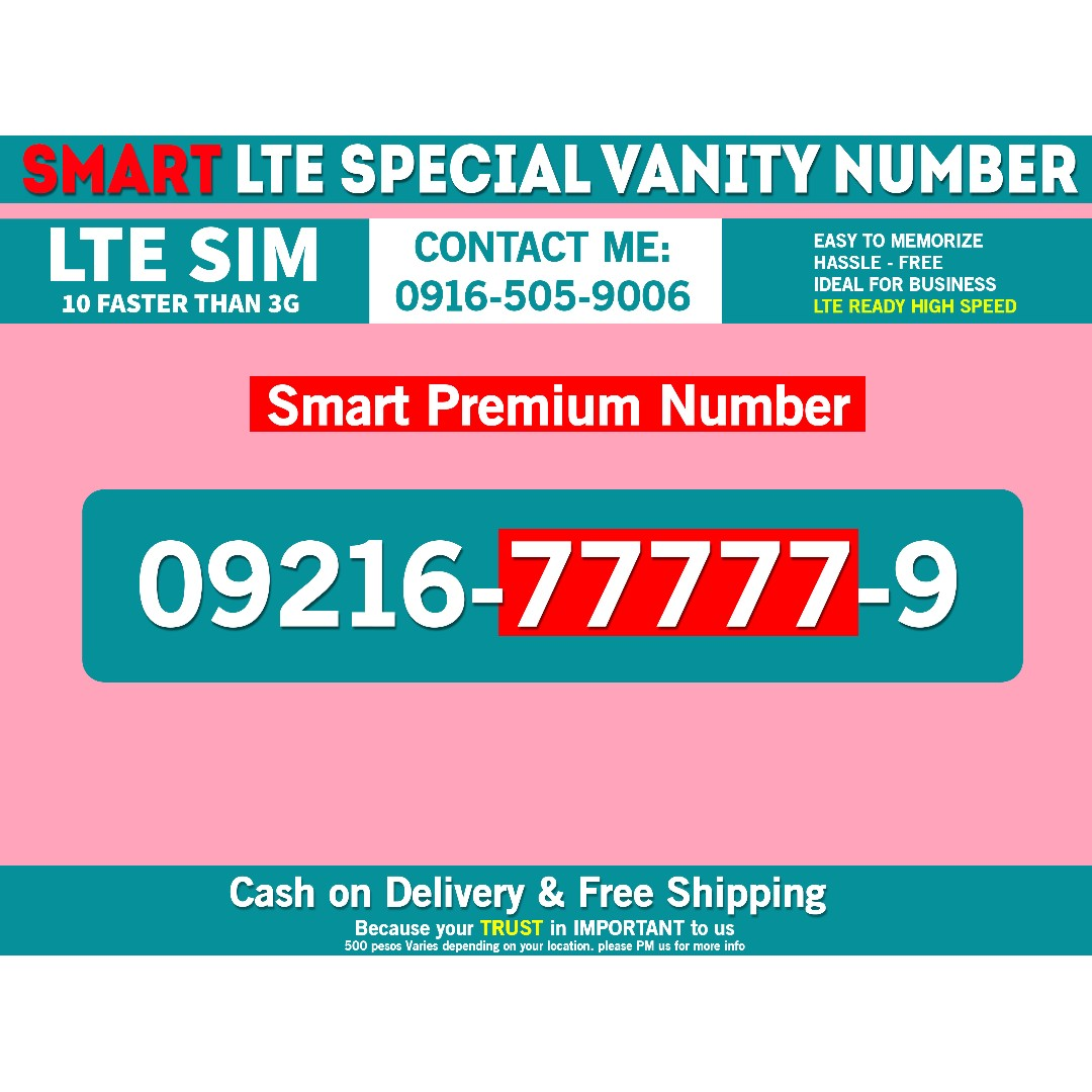Smart Sim Prefix 0921 vanity phone number