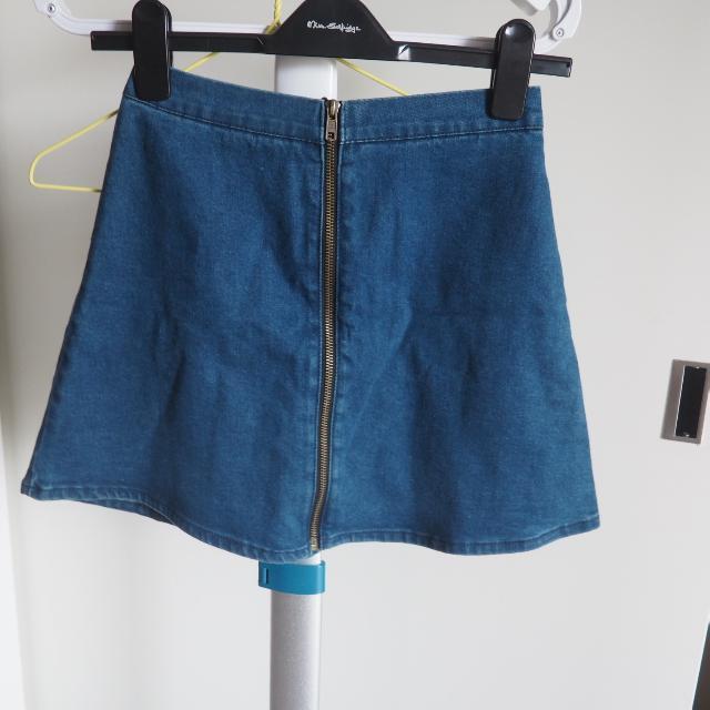 Subtitled Denim Zipper Skirt
