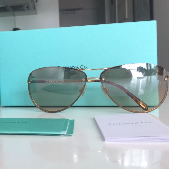 Tiffany & Co Gold Tone Sunglasses. Inc. Receipts, Box, Case & Cards
