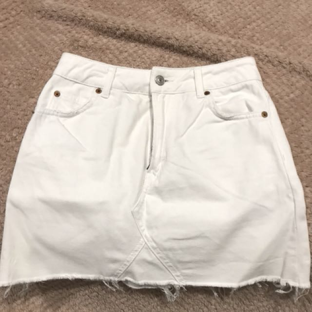 Topshop white denim skirt