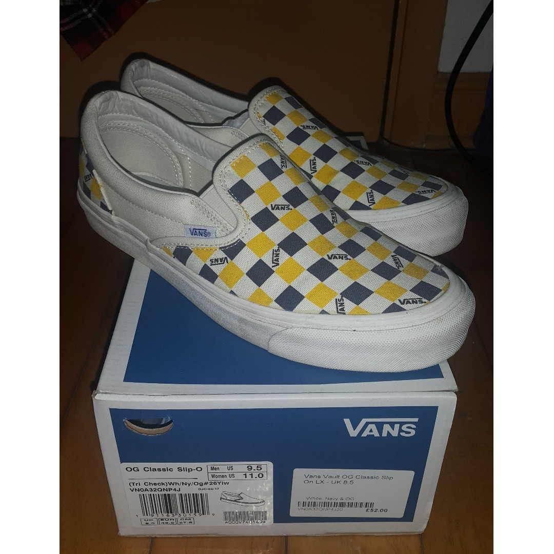 vans vault og classic slip on checkerboard white navy yellow