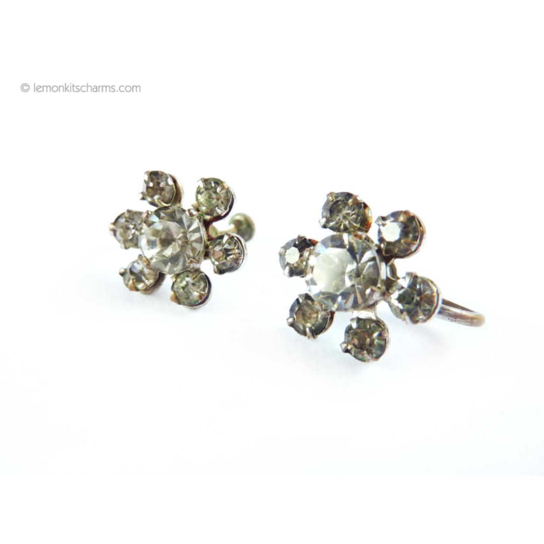 Vintage Clear Rhinestone Cluster Earrings, er1600-c