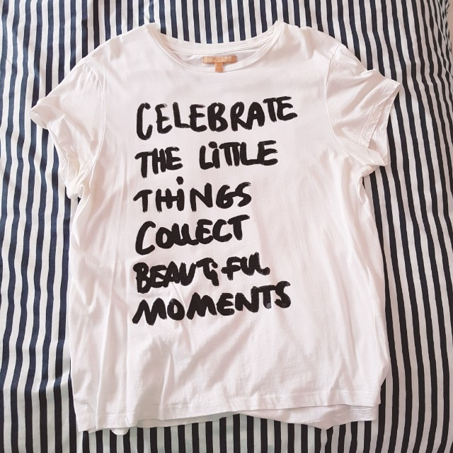 White tshirt with quote