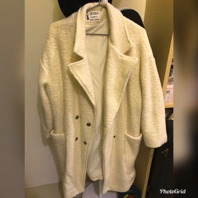 Zheng 同款米白內刷毛大衣