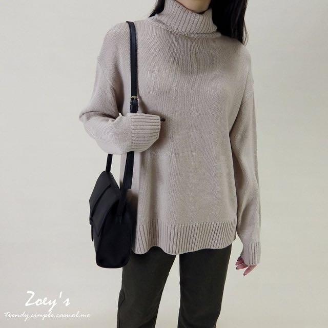 Zoey's 全新正韓 反折螺紋高領毛衣