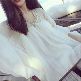 🚚 女裝夏天韓版中長款雪紡衫上衣寬松娃娃衫蕾絲短袖連衣裙