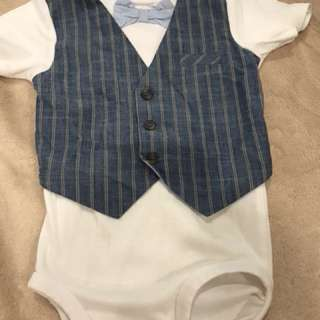 Baby Boy Short sleeve Romper with Bow Tie