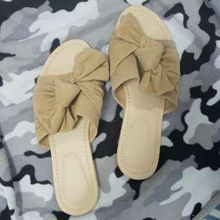 Nude Tie Knot Sandals