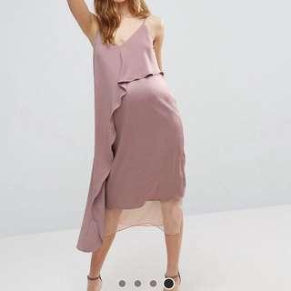 Asos maternity cami midi dress with mesh insert