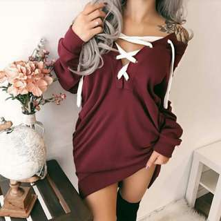 Offshoulder sweater lace-up dress (wine red)