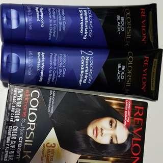 BN Revlon Colorsilk Set (dye, shampoo, conditioner) Blue Black
