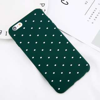 POLG polkadot dots Soft casing caseBack Cover Iphone 6 6s Plus Hijau