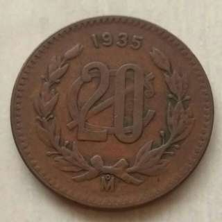 Mexico 1935 20 Centavos Coin With Nice. Details.Diameter 32.5mm