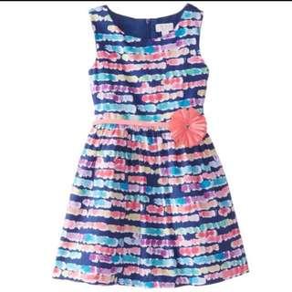 [Brand New] The Children's Place - Little Girls Dot Dress With Flower Belt (Size 5)