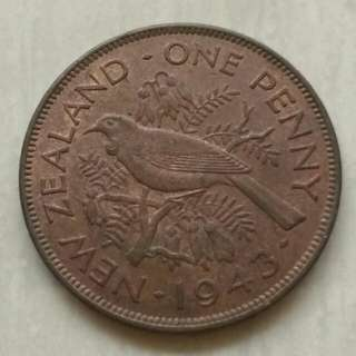 New Zealand 1943 Penny Coin With Good Details.Diameter 31mm