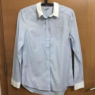 H&M Light Blue Shirt With White Collars UK 38
