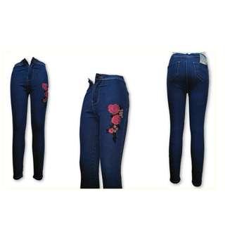 Joni/High-waist Floral Jean