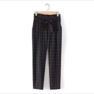 Europe and the United States wild lace elastic waist retro plaid casual pants