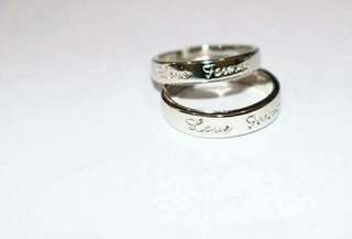 Silver plated ring adjustable couple with box
