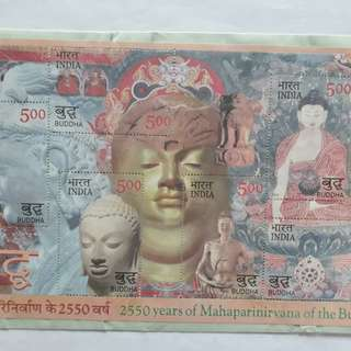 india Miniature Sheet  - 2550 Years of Mahaparinirvana of the Buddha stamp