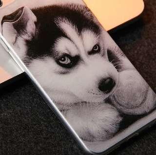 Apple iphone 6s、6s plus 可愛素描 哈士奇 超薄透明邊 彩繪工藝 硅膠 手機軟殼 特價$70