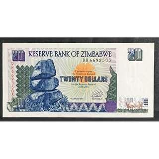 Zimbabwe 1997 $20 VF