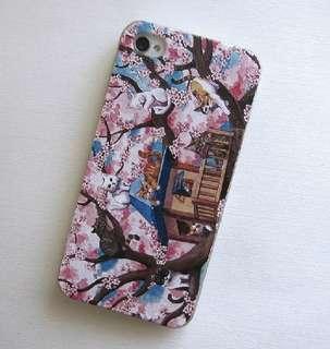Apple iphone 6、 6 plus、5s 可愛櫻花樹貓咪 3D立體卡通浮雕 超薄透明邊 彩繪手機殼特價$70