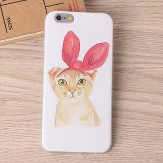 Apple Iphone 6 6s plus 可愛貓咪 兔耳貓咪 彩繪磨砂透明 手機軟殼 原價$98 特價$70