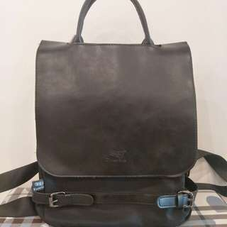 Black PU smart backpack