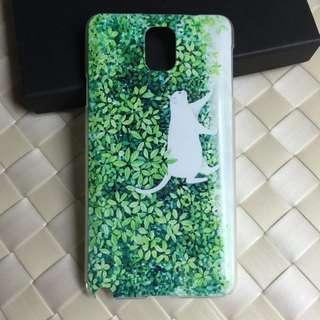 Samsung Note 3 白貓 卡通浮雕 超薄透明邊 包邊軟殼 彩繪手機殼 原價$98 特價$60