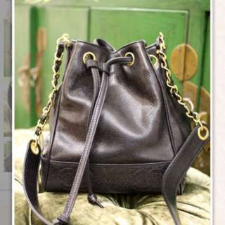 Vintage Chanel Caviar Black Bucket Bag