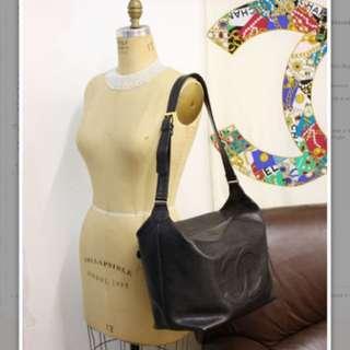 Vintage Chanel Large Black Caviar Shoulder Bag Great For Travel