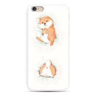 Apple Iphone 6/6s 可愛柴犬 插圖 浮雕 超薄透明邊 硅膠 手機軟殼 原價$98 特價$70