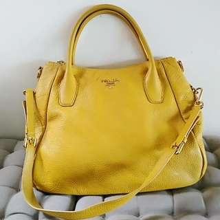 Prada cross body bag with handle in yellow