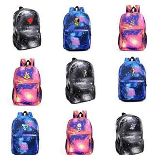 Preorder - BT21 SCHOOL BAG ALL MEMBER AVAILABLE CHOOSE [BLACK/RED/BLUE] exc.pos