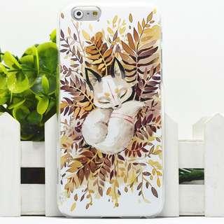 Apple iphone 6/6s、6/6s plus 愛睡小狐狸卡通浮雕 超薄透明邊 彩繪手機殼  特價$70