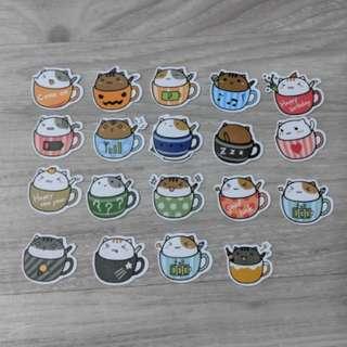 [BN] Cute Cat Flake Stickers (Cup Ver)