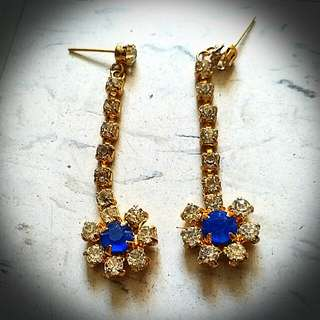 藍花石耳環 Blue Flower Ear Rings