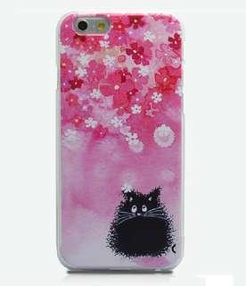 Apple iphone 6s、 6s plus 可愛花瓣黑貓咪 3D立體卡通浮雕 超薄透明邊 彩繪手機殼 特價$70
